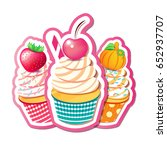 vector illustration of cupcakes ... | Shutterstock .eps vector #652937707