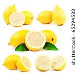 lemon set isolated on white... | Shutterstock . vector #65294533