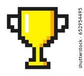 pixel art golden cup award... | Shutterstock .eps vector #652954495