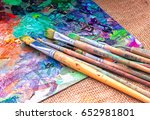 Artist Brush And Palette With...