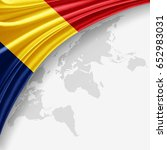 romania flag of silk with... | Shutterstock . vector #652983031