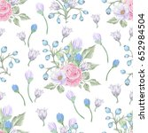 floral seamless pattern with... | Shutterstock .eps vector #652984504