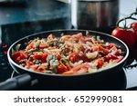 frying minced pork with... | Shutterstock . vector #652999081