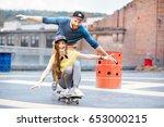 playful friends having fun... | Shutterstock . vector #653000215