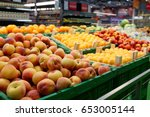 Shelf With Fruits In Large Food ...