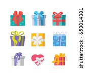 gift boxes  eps 8  no... | Shutterstock .eps vector #653014381