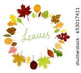 colorful leaves frame on white... | Shutterstock .eps vector #653017411