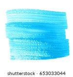 blue watercolor dry brush paint ... | Shutterstock .eps vector #653033044