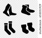 sock icons set. set of 4 sock... | Shutterstock .eps vector #653051929