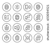 set round line icons of smart... | Shutterstock .eps vector #653054521