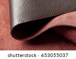 luxury roll of colored leather... | Shutterstock . vector #653055037