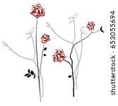 floral background roses  vector ...   Shutterstock .eps vector #653055694