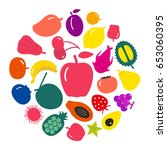 many fruit simple icons set ... | Shutterstock .eps vector #653060395