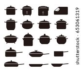 simple set of pans and pots... | Shutterstock .eps vector #653061319