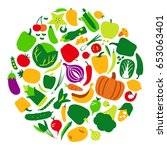 vegetables and fruit icon set... | Shutterstock .eps vector #653063401