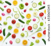 pattern of vegetables and... | Shutterstock . vector #653065345