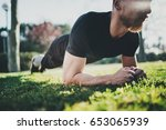 outdoor workout lifestyle... | Shutterstock . vector #653065939