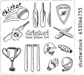 set with cricket elements.... | Shutterstock .eps vector #653066755