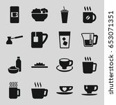 coffee icons set. set of 16... | Shutterstock .eps vector #653071351