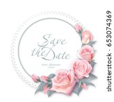 round floral frame. delicate... | Shutterstock . vector #653074369