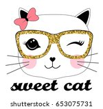 sweet cat illustration vector... | Shutterstock .eps vector #653075731
