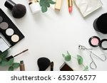 image of make up products on... | Shutterstock . vector #653076577