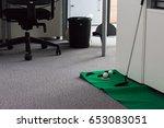 putting green in modern white... | Shutterstock . vector #653083051