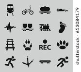 track icons set. set of 16... | Shutterstock .eps vector #653084179