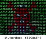 binary with skull virus screen... | Shutterstock . vector #653086549
