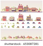 vector low poly 2d  buildings... | Shutterstock .eps vector #653087281