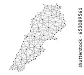 map of lebanon from polygonal... | Shutterstock . vector #653089561
