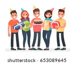 happy birthday. the company of... | Shutterstock .eps vector #653089645