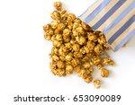 caramel popcorn isolated on... | Shutterstock . vector #653090089