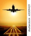 passenger plane fly up over... | Shutterstock . vector #65309419