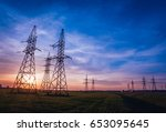 high voltage power lines at...   Shutterstock . vector #653095645