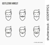 set of icons with bearded men.... | Shutterstock .eps vector #653095921