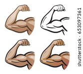 strong male arm  hand muscles ... | Shutterstock .eps vector #653097361