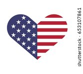 usa flag hearts shape vector... | Shutterstock .eps vector #653107861