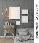 mock up poster frames in modern ... | Shutterstock . vector #653112679