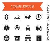 set of 12 editable  icons.... | Shutterstock .eps vector #653115499