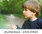little boy blowing on a... | Shutterstock . vector #653115565
