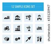 set of 12 editable building... | Shutterstock .eps vector #653120947