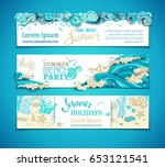 vector set of sea ocean... | Shutterstock .eps vector #653121541