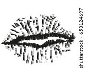 drawing of lips  kisses | Shutterstock .eps vector #653124697