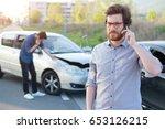 men calling first aid after a... | Shutterstock . vector #653126215
