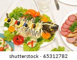 holiday table full of tasty food | Shutterstock . vector #65312782
