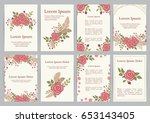 Stock vector romantic wedding invitation set with floral wreath a vector templates 653143405