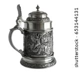 Small photo of Pewter beer tankard with relief The Song of the Nibelungs isolated on a white background