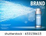 spray bottle isolated on blue... | Shutterstock .eps vector #653158615