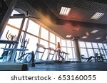 the athletic woman running on...   Shutterstock . vector #653160055